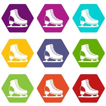 Ice skate icon set many color hexahedron isolated on white vector illustration Illustration