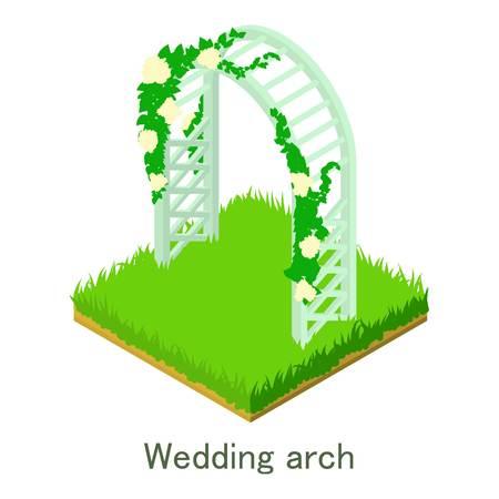 Wedding arch icon, isometric style. Illustration