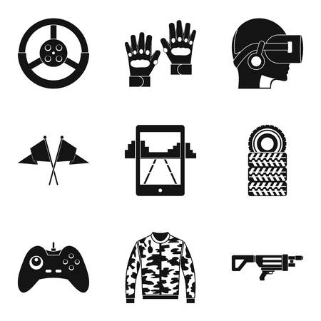 Reconstruction icons set simple for web design