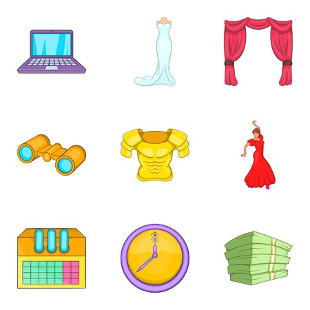 Cultural centre icons set. Cartoon set of 9 cultural centre vector icons for web isolated on white background Illustration