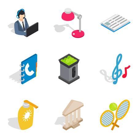 Recreational activity icons set. Isometric set of 9 recreational activity vector icons for web isolated on white background