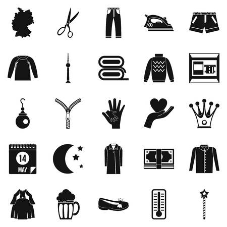Apparel icons set. Simple set of 25 apparel vector icons for web. Isolated on white background. Stock Illustratie