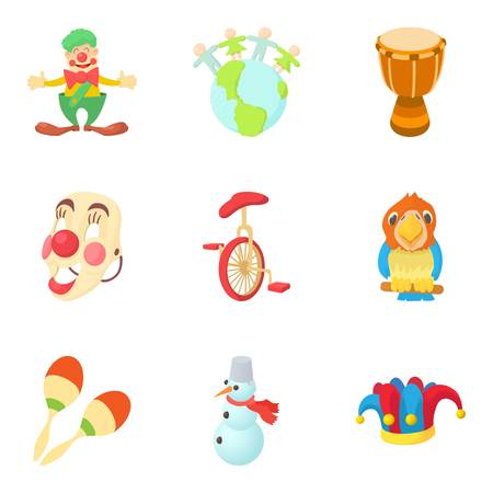 Circus studio icons set. Cartoon set of circus studio vector icons for web isolated on white background
