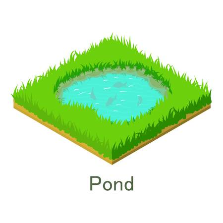 Pond icon. Isometric illustration of pond vector icon for web.