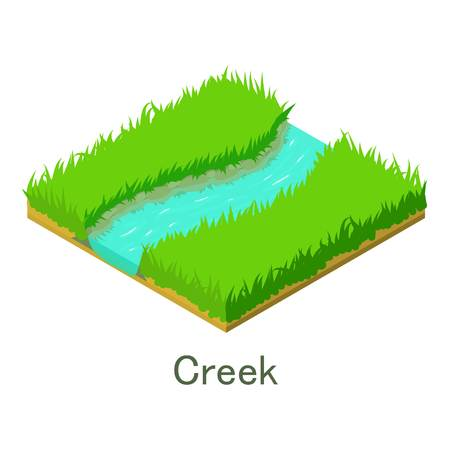 Creek icon. Isometric illustration of creek vector icon for web.