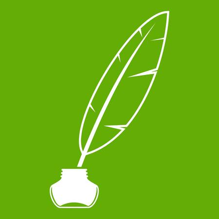 Ink with pen icon white isolated on green background. Vector illustration