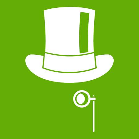 Hat with monocle icon white isolated on green background. Vector illustration