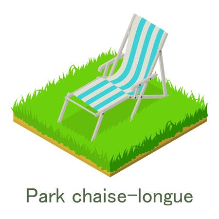 Park chaise-longue icon. Isometric illustration of park chaise-longue vector icon for web. Illustration