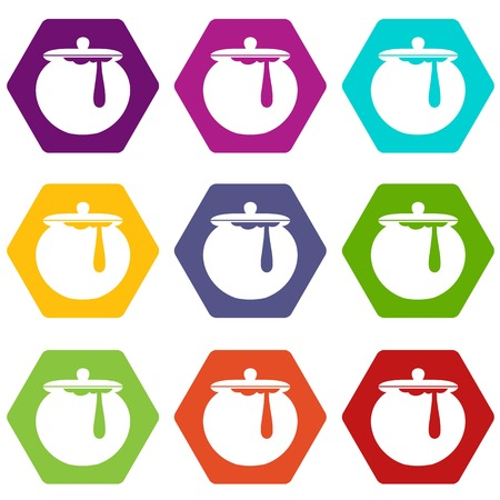 Honey pot icon set many color hexahedron isolated on white vector illustration Illustration
