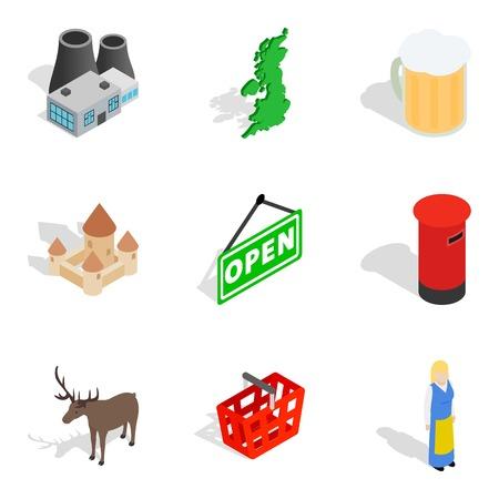 Euro area icons set. Isometric set of 9 euro area vector icons for web isolated on white background Illustration