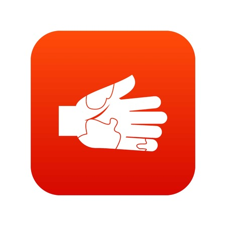 Hand with stains icon digital red for any design isolated on white vector illustration Illusztráció