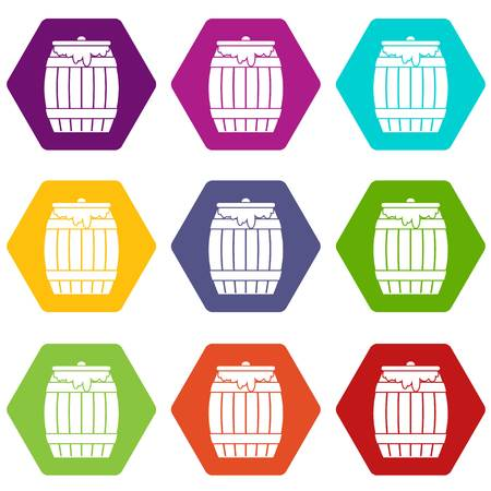 Honey keg icon set many color hexahedron isolated on white vector illustration Illustration
