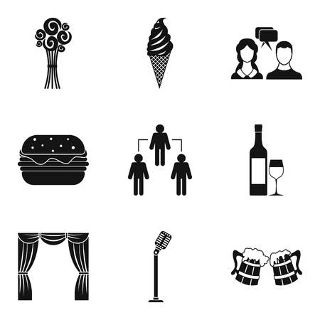 Occasion icons set, simple style Illustration
