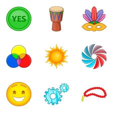 Merriment icons set, cartoon style Stock Illustratie