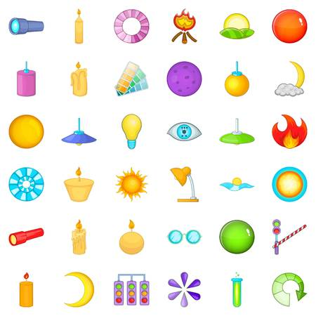 Candle icons set, cartoon style Illustration