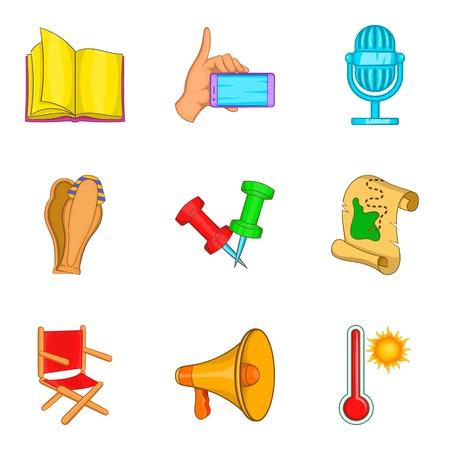 Trade show icons set, cartoon style Illustration