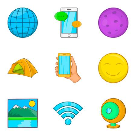 Geological exploration icons set, cartoon style