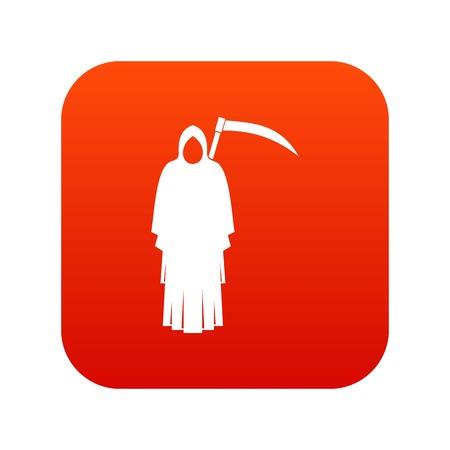 Death with scythe icon digital red