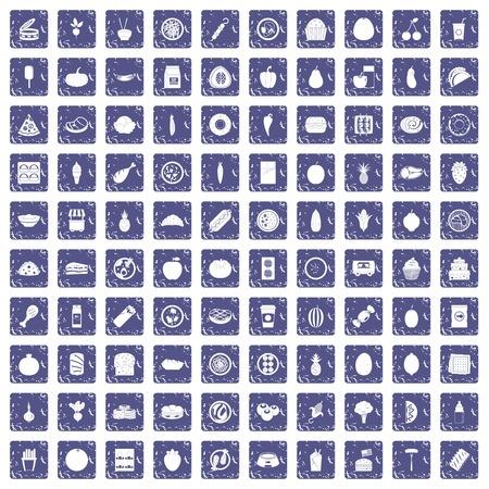 100 nutrition icons set grunge sapphire Ilustracja