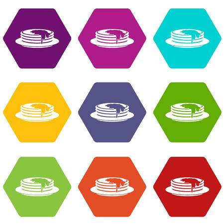 Pancakes icon set color hexahedron