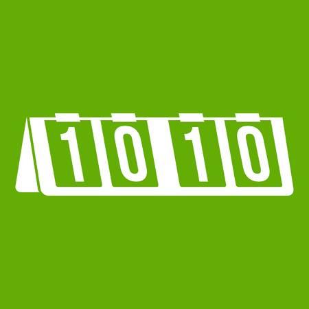 Tennis scoreboard icon white isolated on green background Vector illustration Illustration