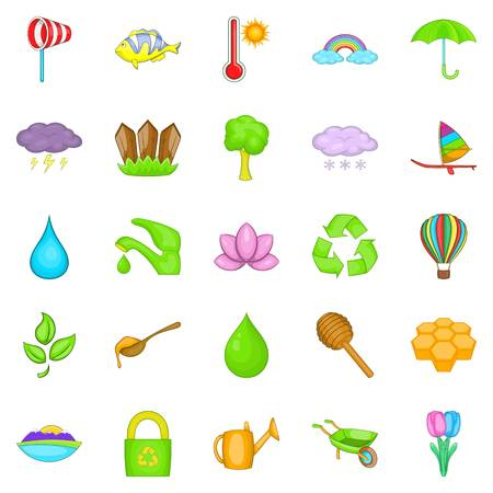 Cultivation icons set, cartoon style