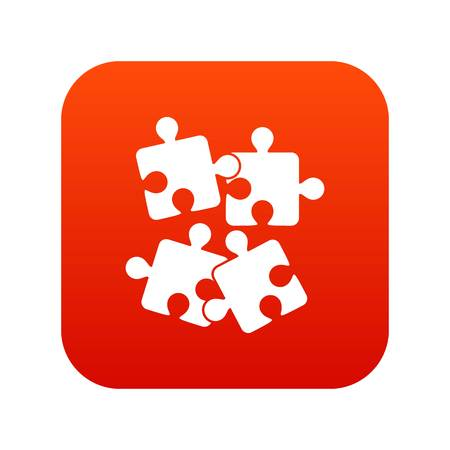 Jigsaw puzzles icon digital red Illustration