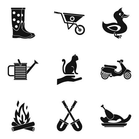 Peasant farm icons set. Simple set of 9 peasant farm vector icons for web isolated on white background