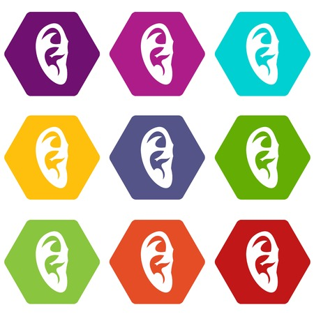 Ear icon set color hexahedron Illustration