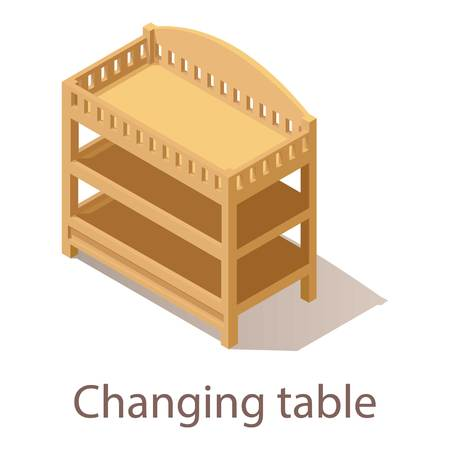 Changing table icon, isometric style.