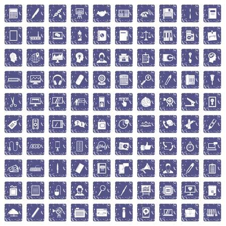 100 office work icons set grunge sapphire 向量圖像