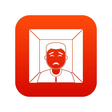 Man icon digital red for any design isolated on white vector illustration