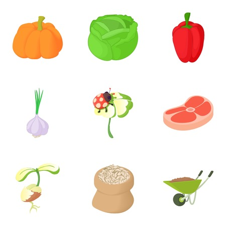 Agricultural enterprise icons set. Cartoon set of 9 agricultural enterprise vector icons for web isolated on white background