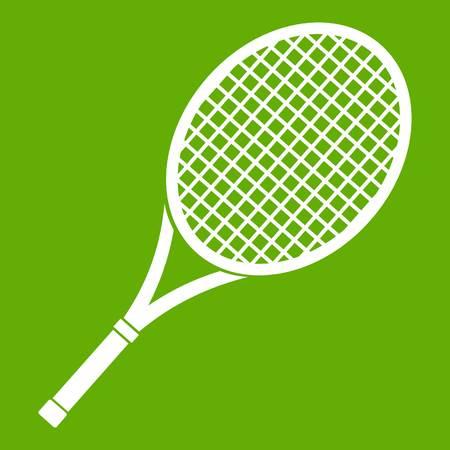Tennis racket icon green Illustration