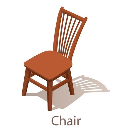 Chair icon, isometric style.