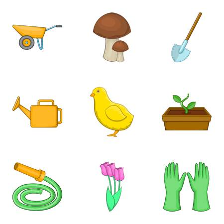 Harvest work icons set, cartoon style