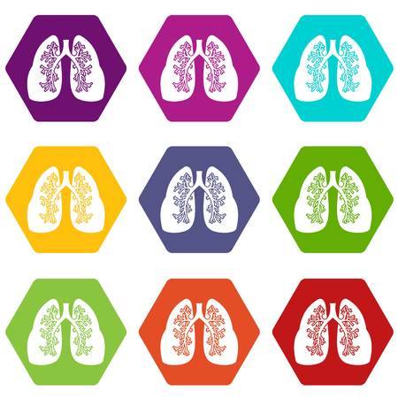 Lungs icon set many color hexahedron isolated on white vector illustration