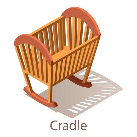 Cradle icon, isometric style.