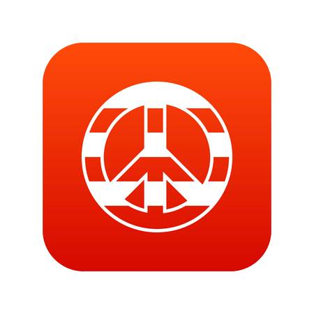 LGBT peace sign icon digital red
