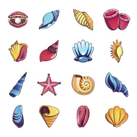 Tropical sea shell icons set, cartoon style
