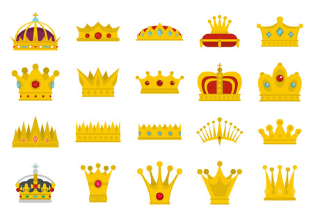 Crown icon set. Flat set of crown vector icons for web design isolated on white background Illustration