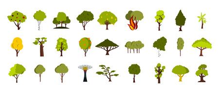 Tree icon set. Flat set of tree vector icons for web design isolated on white background
