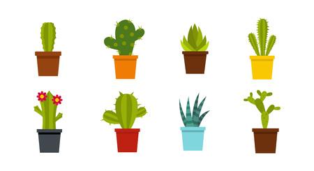 Salle de jeu d'icônes de cactus, illustration de style plat. Banque d'images - 93965037
