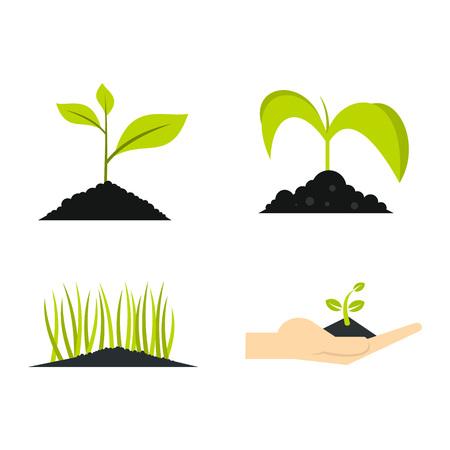 Ground plant icon set, flat style illustration.