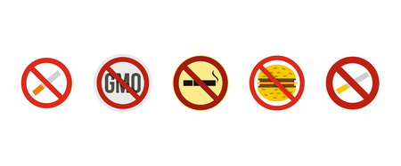 Restricted sign icon set, flat style illustration. Illustration