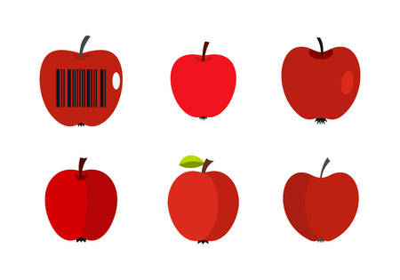 Red apple icon set, flat style illustration. Vectores