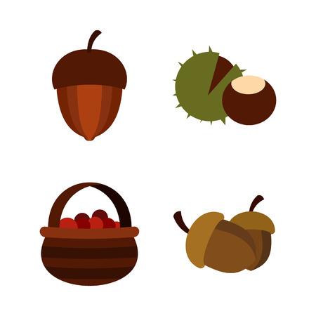 Nuts icon set, flat style illustration.