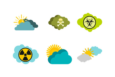 Cloud icon set. Flat set of cloud vector icons for web design isolated on white background