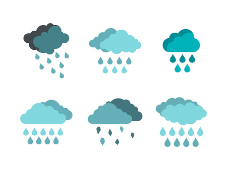 Rain cloud icon set. Flat set of rain cloud vector icons for web design isolated on white background
