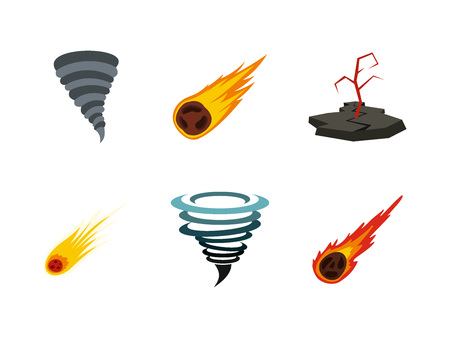 Natural disaster icon set. Flat set of natural disaster vector icons for web design isolated on white background